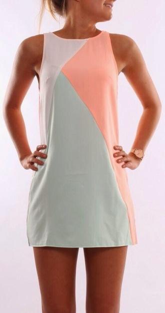 dress pink blue white
