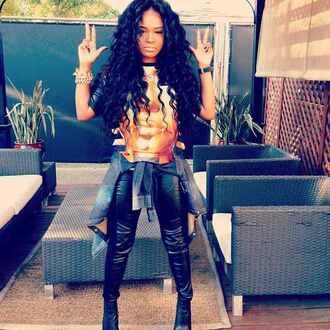 shirt jewelry leggings denim jacket high heels jewels pants fashion luxury curly hair gold egyptian leather black
