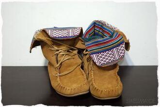 shoes moccasins aztec pattern