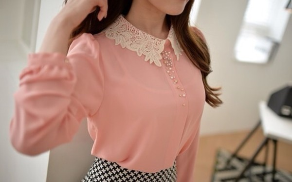 blouse pink with white coller