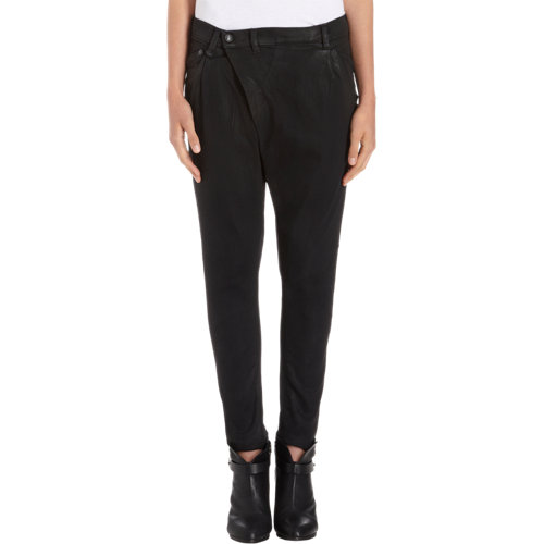 R13 Crossover Front Waxed Slim Jeans at Barneys.com