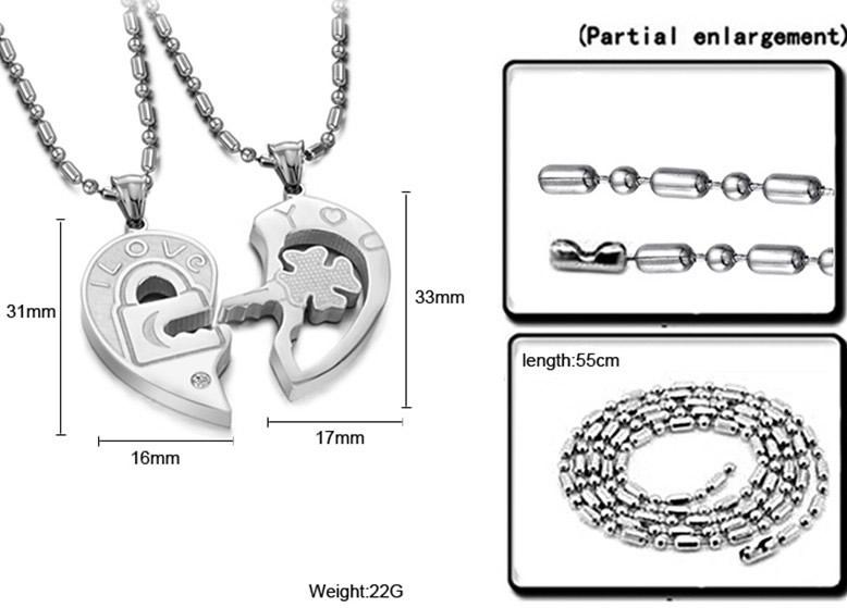 Couple I Love You Heart Shape Lock Key Lover Steel Pendant Necklace Chain 1 Pair | eBay