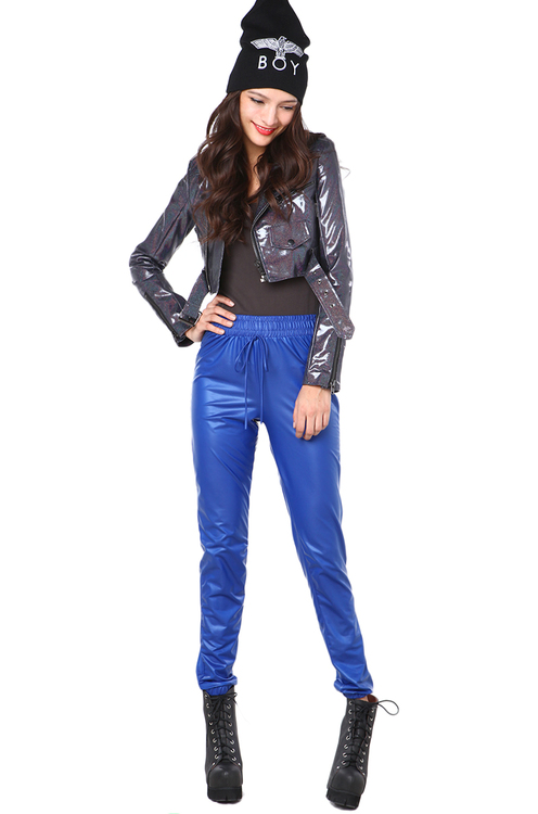 Pleather Jogging Pant in Blue