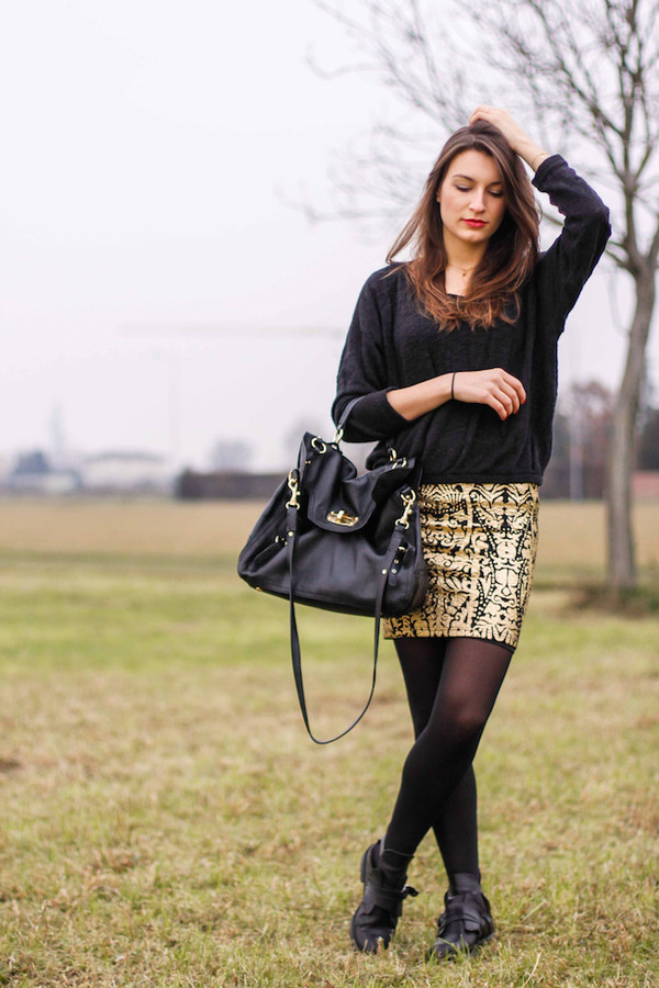 style and trouble skirt shoes sweater bag jacket jewels