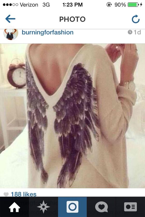 sweater beige sweater angel wings nude back sweaters cute print food yum
