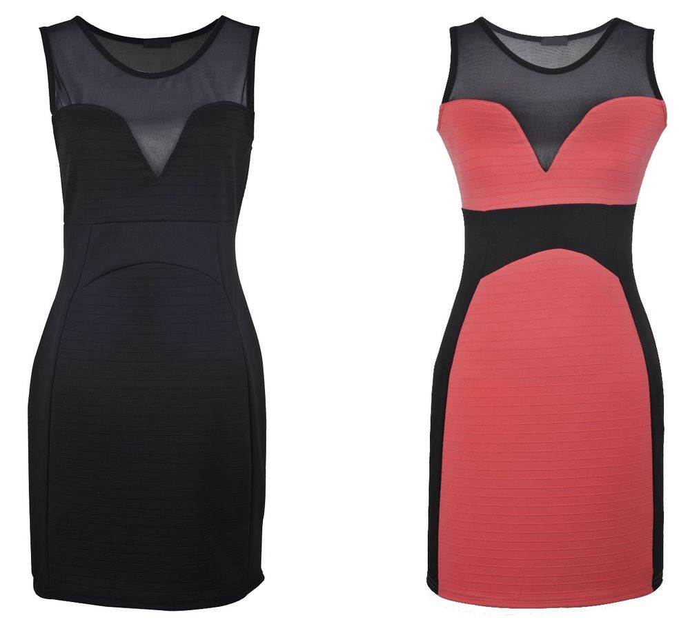 New Mesh Insert Ribbed Panel Bodycon Short Dress Black Coral UK 8 10 12 14 16 | eBay