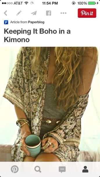 jacket kimono boho greens