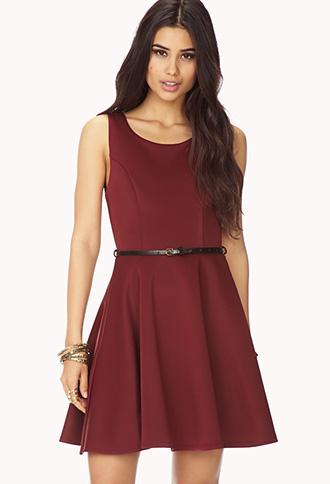 Scuba Knit A-Line Dress w/ Belt | FOREVER21 - 2000075050