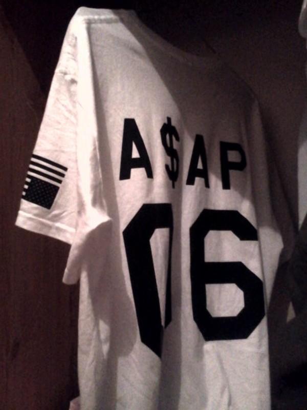 shirt asap jersey white asap mob black and white ASAP Rocky asap ferg blouse