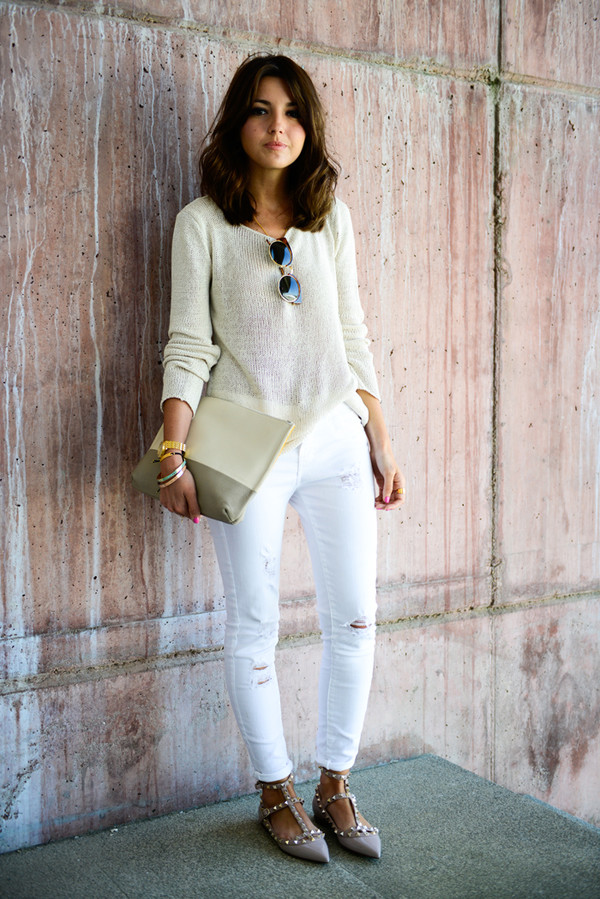 lovely pepa sweater jeans shoes bag sunglasses jewels classy valentino rockstud white ripped jeans white jeans white sweater pouch spring outfits pointed flats flats nude flats