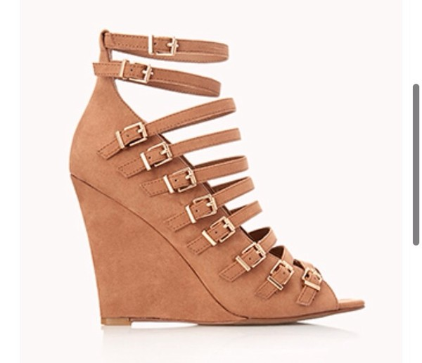 shoes taupe buckled wedges