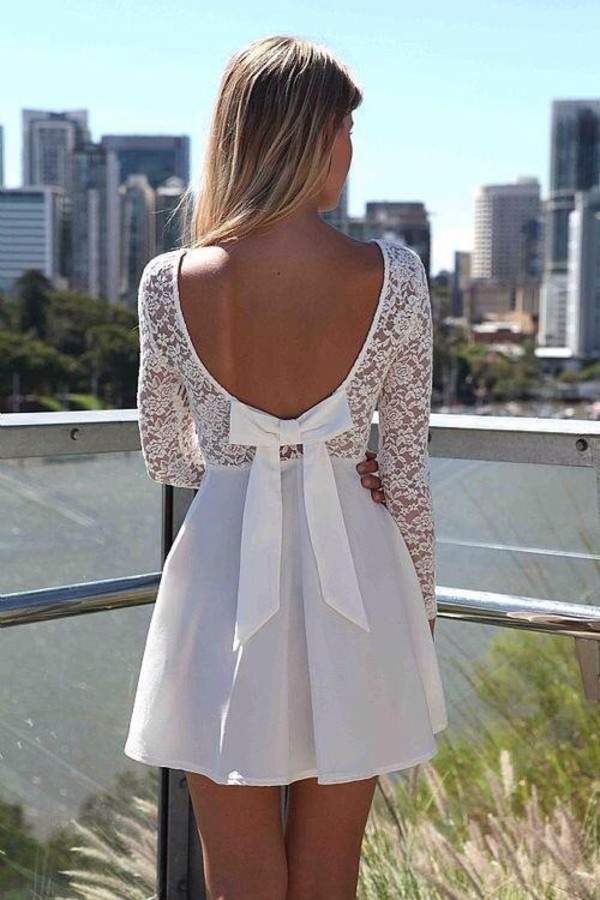 dress white dress ribbon summer dress spring summer white lace dress open back white white lace dress white lace white bows white bow dress Bow Back Dress wedding dress backless white dress bows lace dress short white lace dress lace low back dress cute dress mini dress