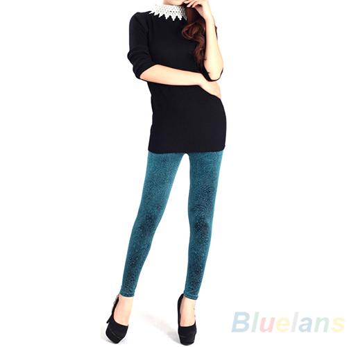Sexy Womens Skinny Velvet Leggings Ankle Length Pants Floral Hollow Tights BE2K | eBay