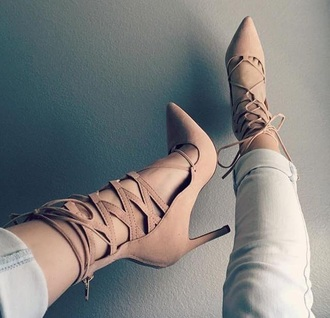 shoes heels tan nude fashion cute bomb sexy populr trendy shorts taupe girl hot summer spring jeans