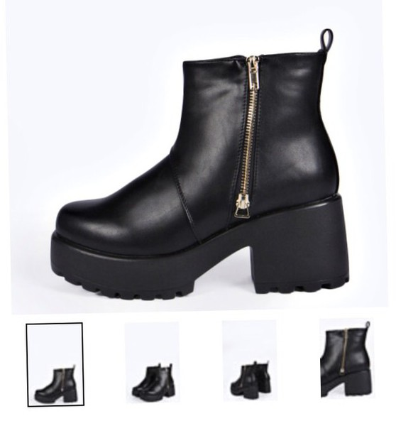 shoes grunge boots platform shoes chunky zip cleated sole ankle boots