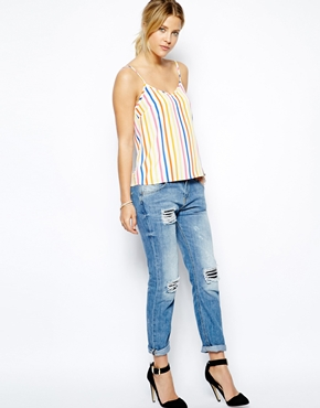ASOS | ASOS Woven Cami in Rainbow Stripe at ASOS