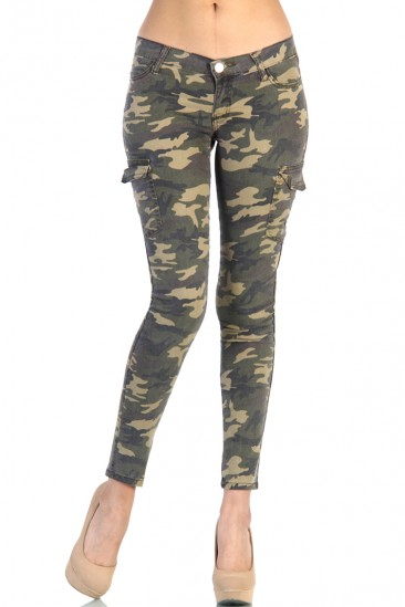 LoveMelrose.com From Harry & Molly | Camo Army Cargo Pants - Green