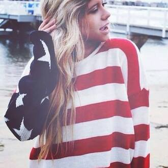 sweater usa pull oversized sweater july 4th american flag flag stars red blue wool shirt top knitted sweater