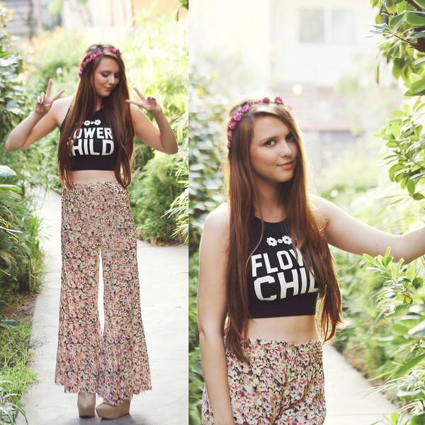 shirt flower child top hippie