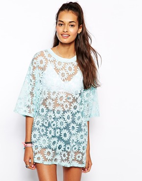 Glamorous   Glamorous Oversize T-Shirt in Sheer Daisy Jersey at ASOS