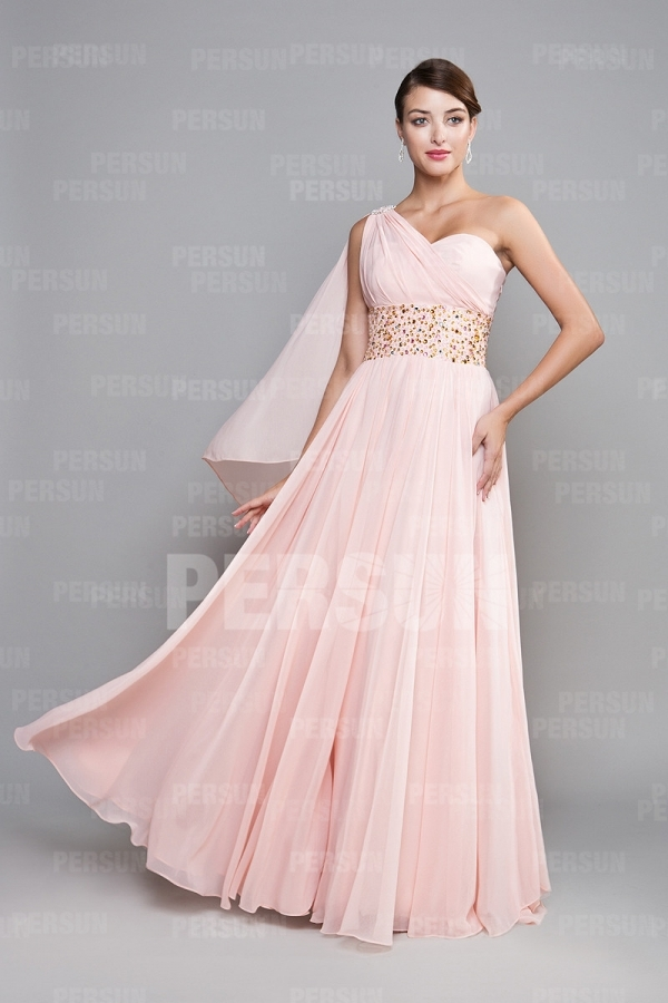 Floor Length Bridesmaid Pink tone One shoulder Empire Grad dress [PPBC0438] - PersunMall.com