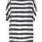 Romwe | batwing sleeves boat neck black-white striped dress, the latest street fashion