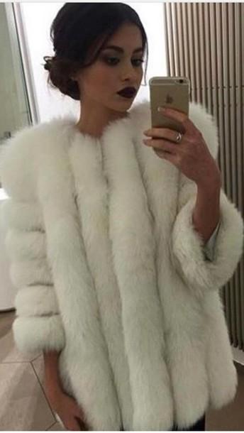 coat faux fur faux fur coat faux fur jacket white winter coat