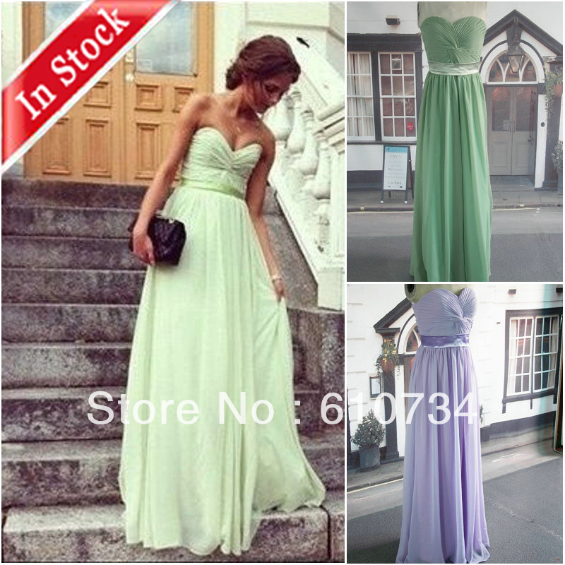 BI0174 Strapless Long Chiffon Real Sample In Stock Peach Purple Royal Blue Green Evening Dress-in Evening Dresses from Apparel & Accessories on Aliexpress.com