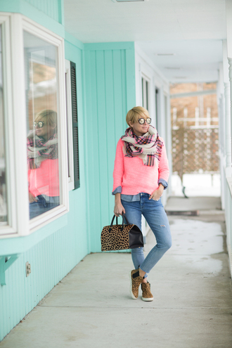 style archives - seersucker and saddles blogger sweater scarf top bag jewels pink sweater tartan scarf animal print winter outfits