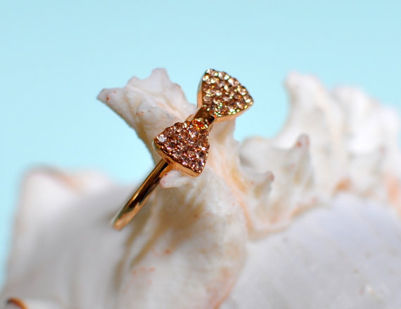 Bow Ring Rhinestone Bow Ring Gold Bow Ring Adjustable by lucymir