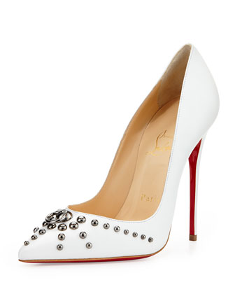 Christian Louboutin Door Knock Leather Red Sole Pump, White