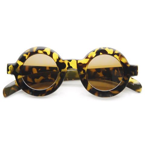 Trendy Blogger Womens Fashion Thick Round Sunglasses 8980                             zeroUV