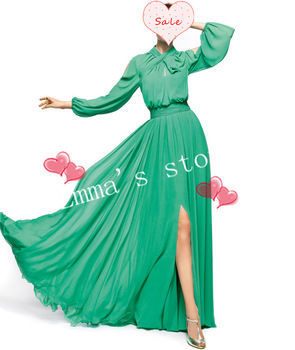 Fashion Free Shipping Custom Made 2014 Popular Sleeves A Line Floor Length Beaded Chiffon Green Prom Dresses-in Prom Dresses from Apparel & Accessories on Aliexpress.com