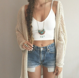 jewels shorts high waisted shorts denim denim shorts high waisted denim short top white top white crop tops white crop tops vest jacket beige jacket beige jewelry rings gold jewelry gold necklace gold ring boho boho chic hippie hippie chic ethnic summer outfits turquoise turquoise jewelry cardigan love# this
