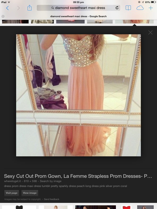 maxi dress prom dress diamonds pink cut-out