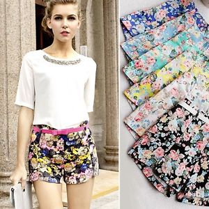 Sexy New Womens Floral Elastic High Waist Pants Shorts Mini Hot Summer Pants | eBay