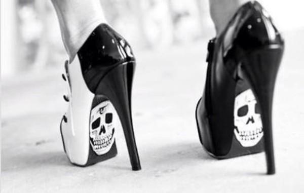 shoes skull high heels black heels heels