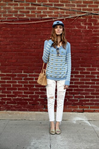 the blonde salad blogger shoes jeans sweater hat bag sunglasses white jeans ripped jeans