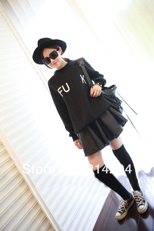 Exclusive Item CUNT FUCK cc letters printed black sweaters women's fashion fleece inside pullover ladies autumn sweatshirts tops-in Hoodies & Sweatshirts from Apparel & Accessories on Aliexpress.com