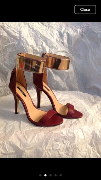 shoes forever 21 gold heels red red high heels ankle strap heels gold high heels