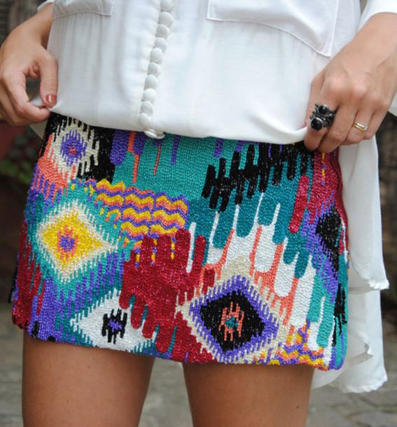 skirt aztec beaded tumblr tribal pattern