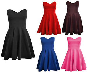 Womens Ladies Padded Boobtube Pleated Bodycon Stretch Skater Skirt Dress UK 8-14   eBay