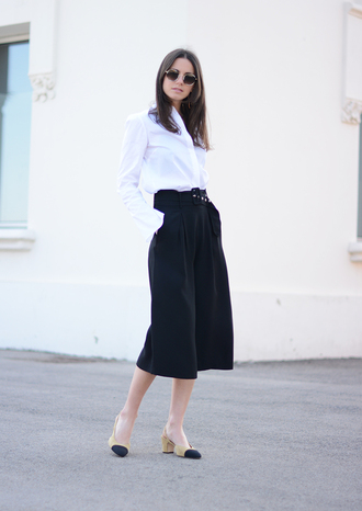 fashion vibe blogger culottes glove heels office outfits medium heels black culottes chanel slingback shoes