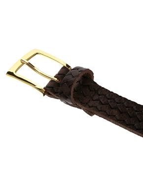 ASOS | ASOS Smart Leather Belt with Braid Emboss at ASOS