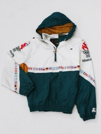 jacket starter green atlanta 90s style coat flags different countries white amazing lit fashion original rare yellow raincoat china america nepal france germany style olympics very rare olympics jacket