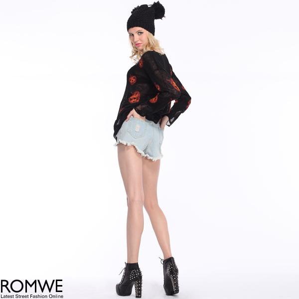 ROMWE   Halloween Pumpkins Print Black Jumper, The Latest Street Fashion