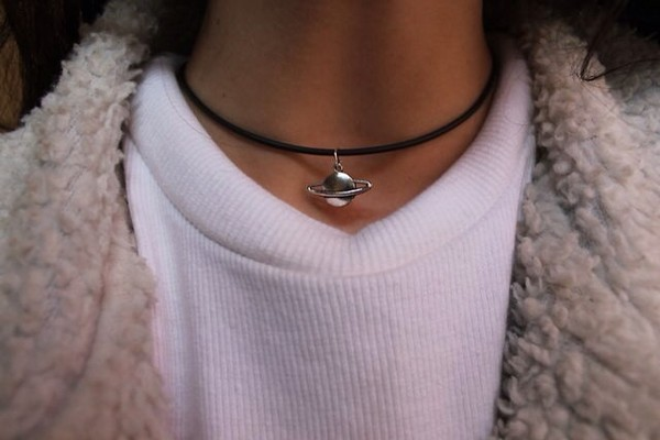 jewels medal neptune short black string necklace saturn choker necklace choker necklace cute science girl indie bambi cool silver black baby thick jumper fur white monochrome space