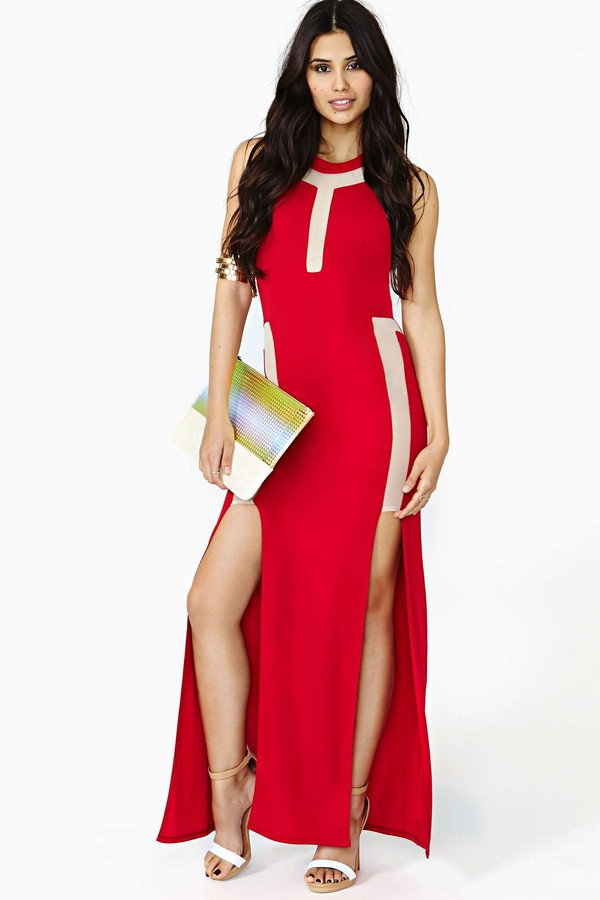 dress nastygal alarm maxi dress red dress maxi dress