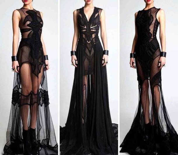 dress black dress see through dress see through dress long dress style