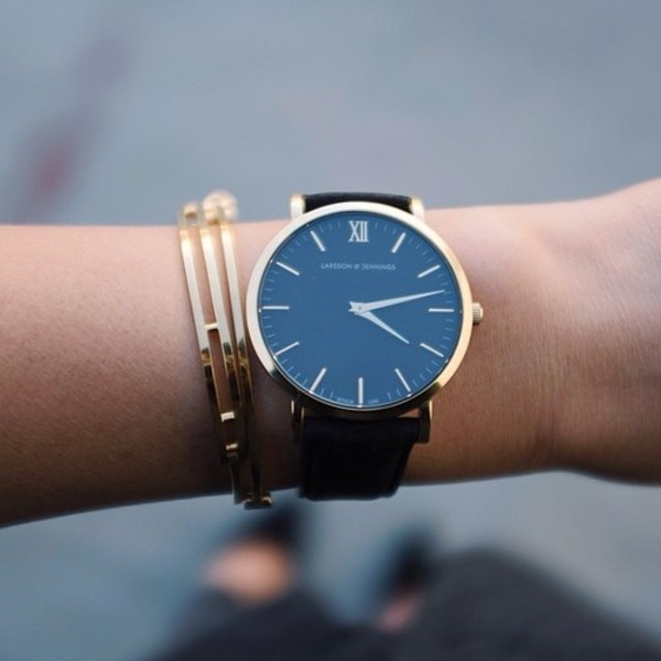 jewels watch gold black minimalist beautiful minimalist jewelry montre noir contour or bracelets girl fashion
